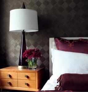 papel de parede quadriculado preto e preto fosco de quarto de casal